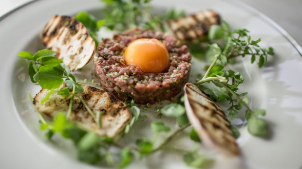 Massi beef tartare with sauce gribiche, capers and croutons.