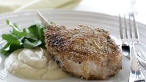 Fennel-crusted pork chops with apple-fennel puree.