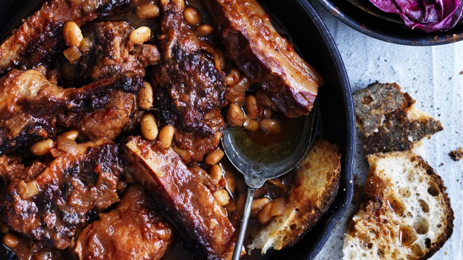 Neil Perry's duck braised with white beans and pancetta.
