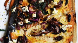Adam Liaw's baked onion and blue cheese flatbread.
