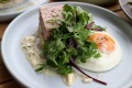 Good eggs: Saint James' ham hock terrine with sauce gribiche, fried egg and bone marrow toast.
