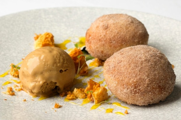 Custard-filled bombolini (Italian doughnuts) with toffee ice-cream and honeycomb from the Grand.