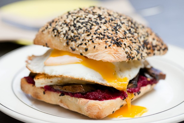 Two Chaps cafe Marrickville: fried egg, mushroom, haloumi, and beetroot relish.