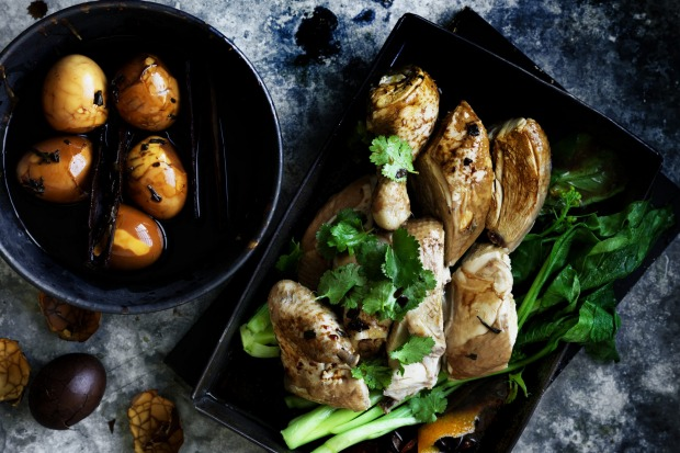 Neil Perry's master stock chicken with tea eggs <a ...
