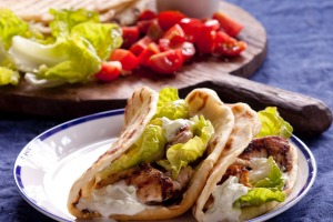 Chicken Souvlaki. Caroline Velik HOT SANDWICHES recipes for Epicure and Good Living. Photographed by Marina Oliphant. ...