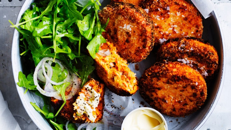 Salmon and sweet potato croquettes.