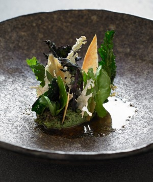 Warm ricotta and nettle, roasted chicken and brassicas at World 50 Best contender, Brae.