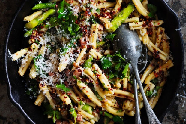 Or toss together Neil Perry's casarecce with asparagus, chilli, garlic and pancetta <a ...