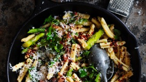 Casarecce pasta with asparagus, chilli, garlic and pancetta.