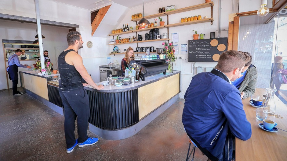 The front coffee bar at Small Axe Kitchen in Brunswick.