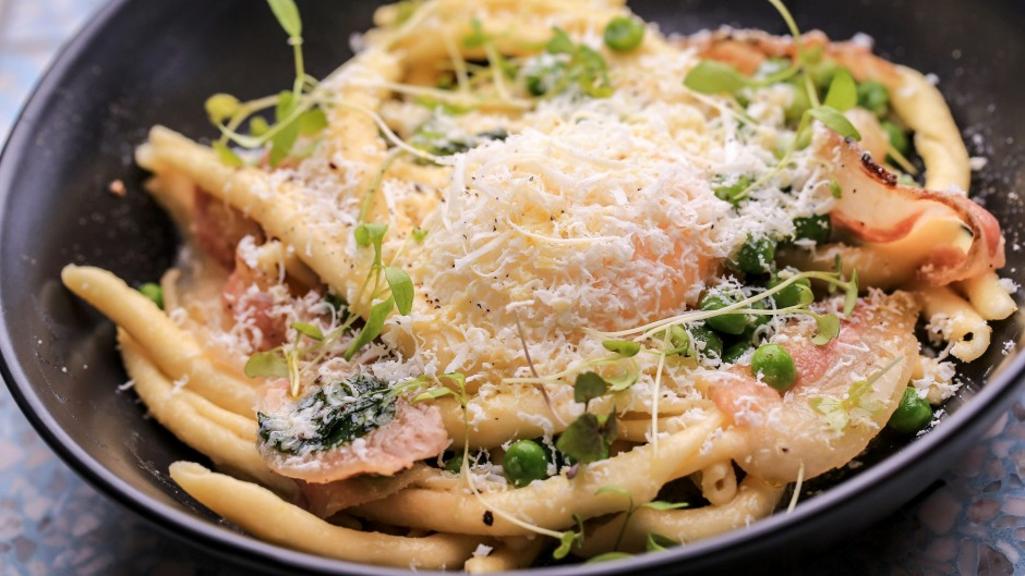Breakfast pasta with slow-cooked egg, pecorino and guanciale.