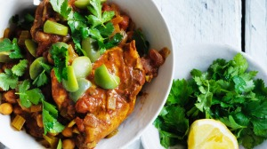 Chicken and chickpea stew.
