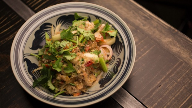 Just-cooked baby squid is the star of this glass noodle dish.