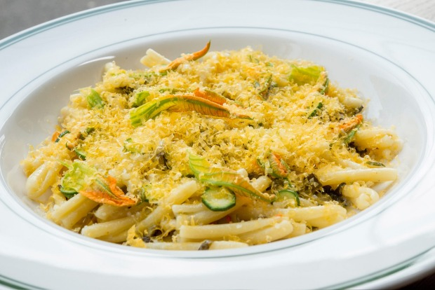 Casarecce pasta with zucchini flowers served at Marion Wine Bar in Melbourne <a ...