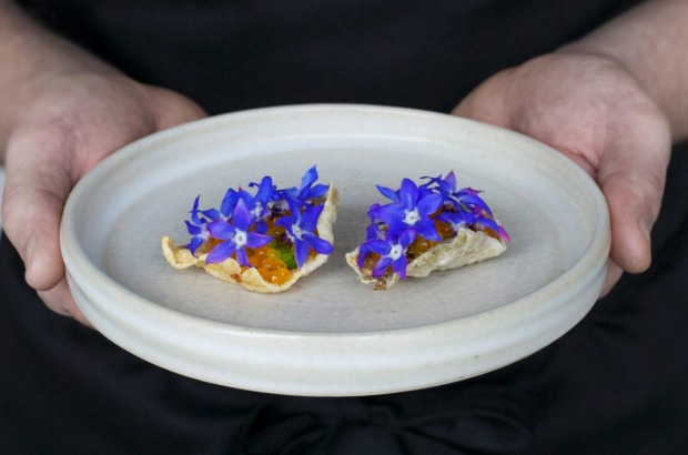 Trout nut butter, borage flowers and salmon roe at Brae, Birregurra.
