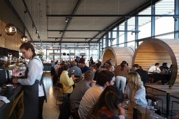 Barrel shaped booths dominate the dining room at Ezard @ Levantine Hill.