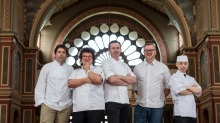 The finalists in Restaurant of the Year, from left Ben Shewry from Attica, Alla Wolf Tasker from Lake House, Dan Hunter ...