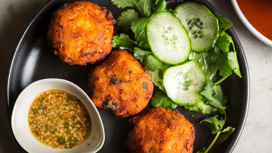 Sweet potato and macadamia nut fritters, with coriander dipping sauce.