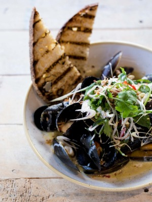 Mussels in a coconut and lemongrass broth.
