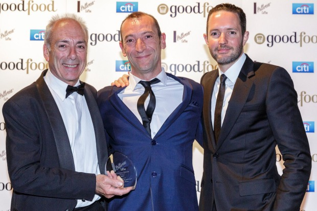 Joint winners of the Vittoria Coffee Legend award, Jean-Paul Prunetti (left) and chef Geraud Fabre (centre) from South ...