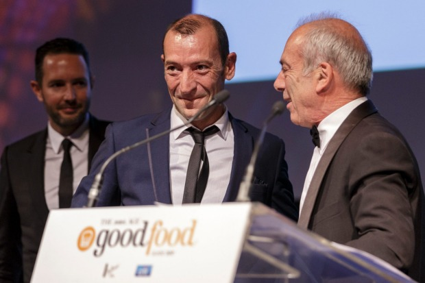 Jean-Paul Prunetti and Geraud Fabre accept their joint Vittoria Legend Award at The Age Good Food Guide Awards 2017.