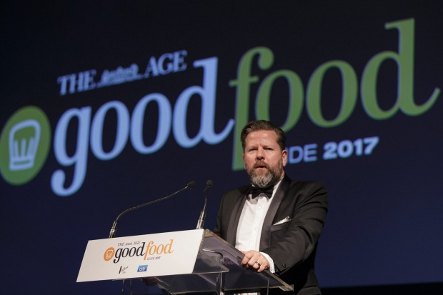 MC Tim Ross on the Good Food Guide 2017 Awards stage at the Plaza Ballroom, Melbourne.