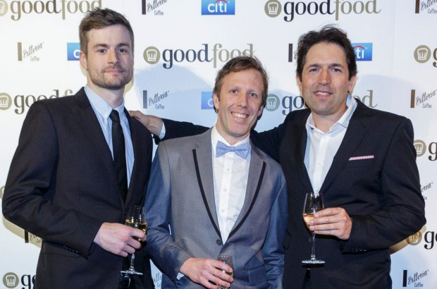 Chefs Thomas Woods (left) and Hayden McFarland (centre) from Woodland House, pictured with Ben Shewry from Attica.