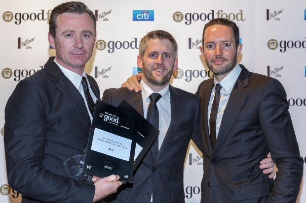 The team from Vittoria Coffee Restaurant of the Year, Brae, including chef Dan Hunter (left).