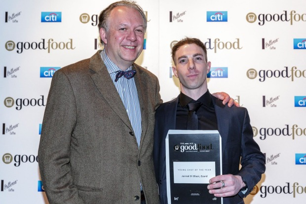 Philippe owner-chef Philippe Mouchel, a member of the Young Chef of the Year judging panel, with this year's winner, ...