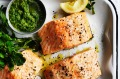 Roast salmon with macadamia and rocket pesto.