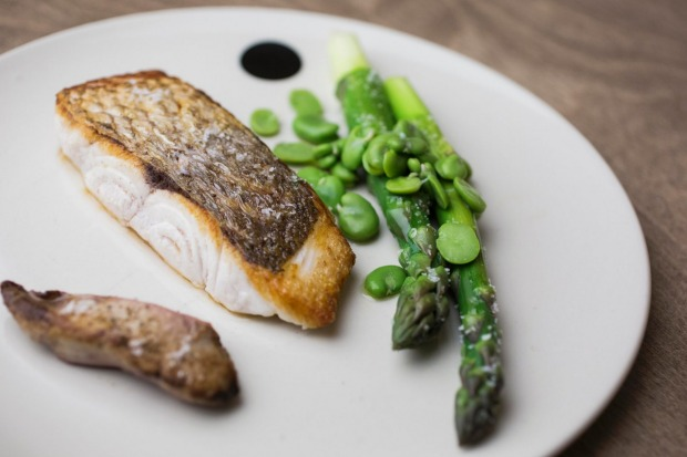 (Fish)head-to-tail: Snapper with its liver, asparagus and broad beans at Saint Peter, Sydney.