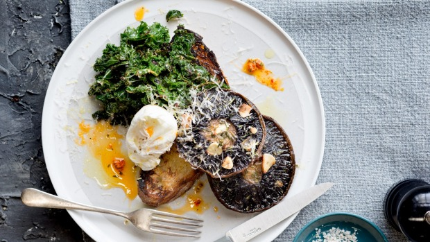 Roasted mushrooms with poached eggs, confit garlic and chilli kale.