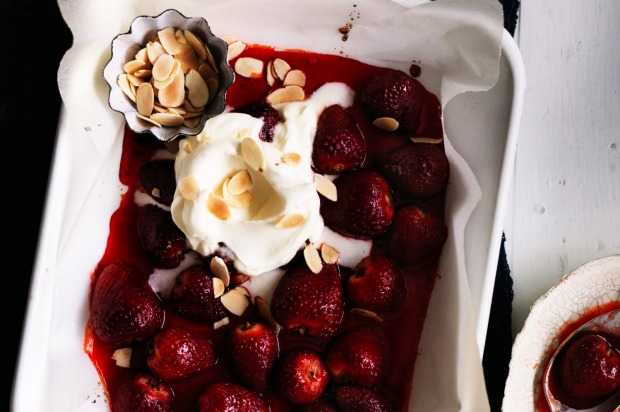 Strawberries and cream with a twist: Adam Liaw's roasted strawberries with licorice cream <a ...