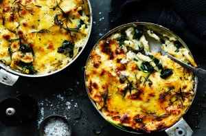 Dan Lepard's spinach and rosemary macaroni cheese.