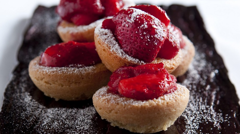 Justin North's strawberry and coconut friands.