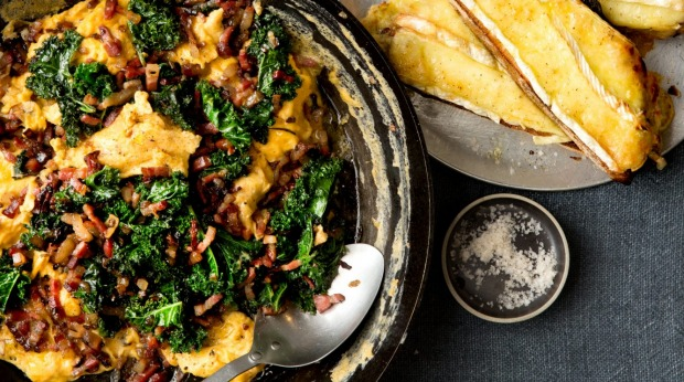Pancetta and kale scrambled eggs with cheesy bread.
