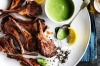 Lamb cutlets with green yoghurt sauce. <a ...