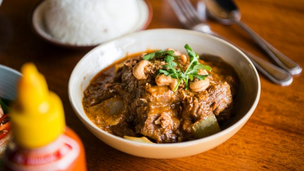 Slow-cooked beef massaman curry.
