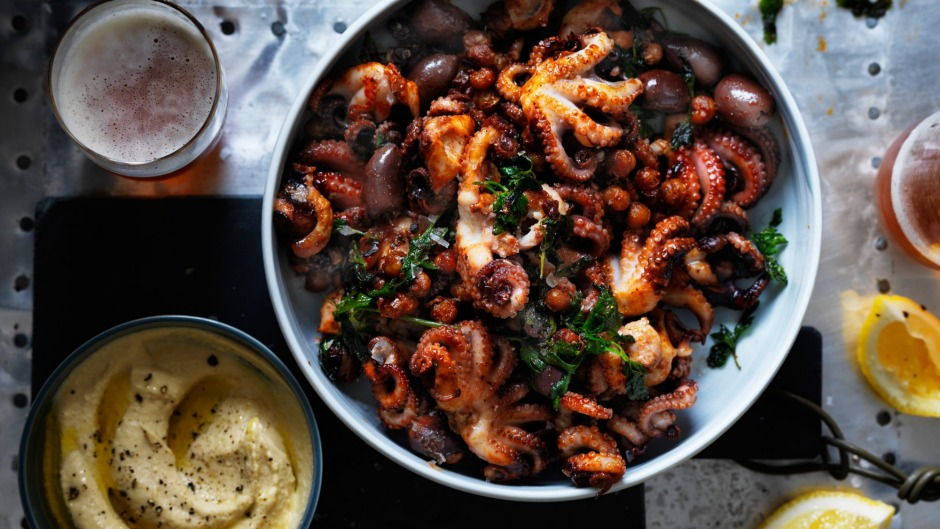 Baby octopus with hummus, fried chickpeas and olives ...
