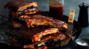 Sticky, slow-cooked Campari pork ribs.