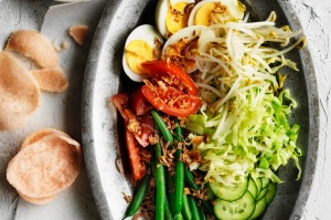 Adam Liaw's delicious gado gado salad with eggs and peanut dressing.