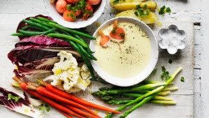 Adam Liaw's bagna cauda with fresh and pickled spring vegetables.