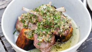 Barbecued lamb and pumpkin topped with a parsley, coriander and shallot salsa.