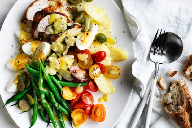 Adam Liaw's roast chicken nicoise salad <a ...