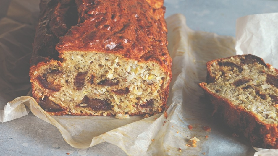 A scrumptious coconut banana bread perfect to snack on throughout the day.