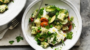 Neil Perry's spring spinach gnocchi with peas, zucchini, goats curd and tarragon.