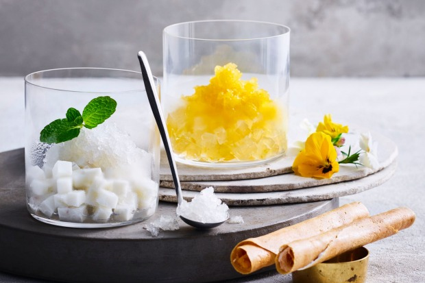 From the dessert menu: coconut and mango granita at Chat Thai, Circular Quay.