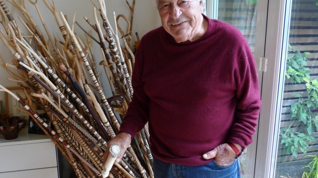Chef and restaurateur Antonio Carluccio, with his collection of walking sticks he has carved from hazel branches, ...