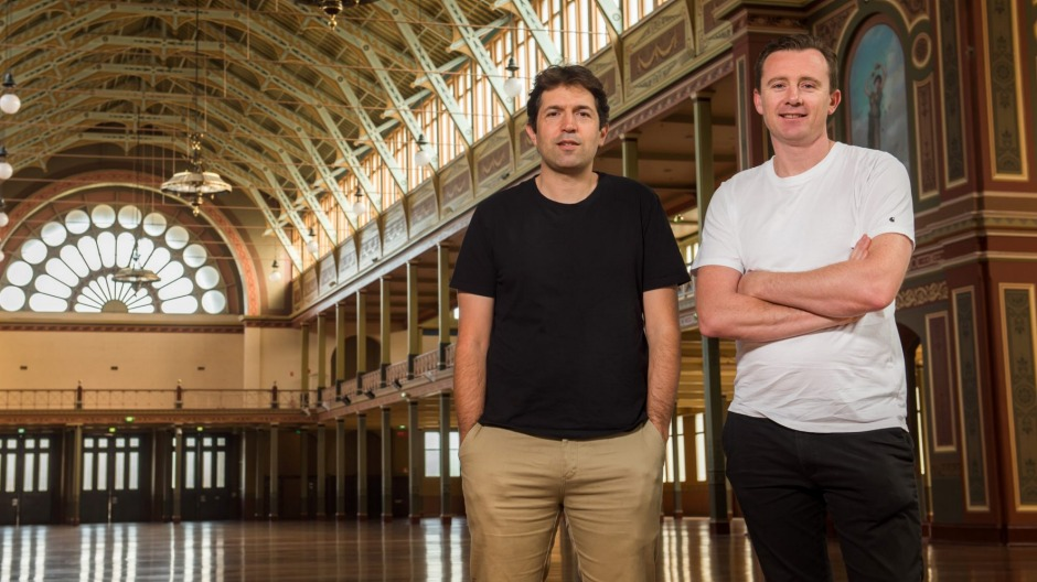 Chefs Ben Shewry (left) and Dan Hunter at the Royal Exhibition Building in Melbourne.