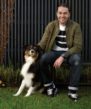 Shannon Bennett with his truffle dog MJ.
